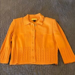 St John Orange Button Up Sweater Blouse size M